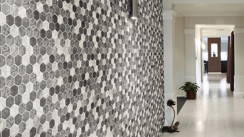 Hexagonal Stone Barque Grey Ambiente